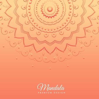 マンダラデザインのオレンジ色の背景