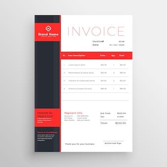 抽象的な赤いテーマのビジネスインボイステンプレートデザイン