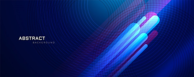 輝く線と抽象的な青い背景