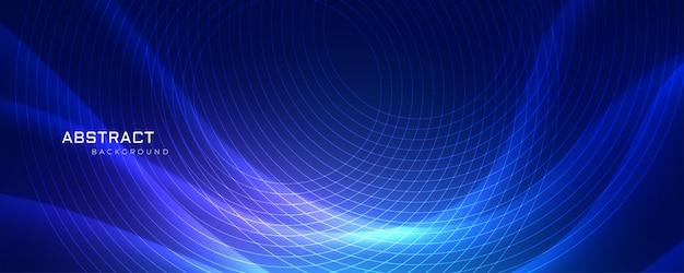 円形の線で青い波状の背景を荒らす