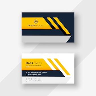 エレガントな黄色の幾何学的な名刺デザイン