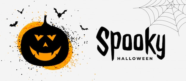 かぼちゃの幽霊を笑っている恐ろしいハロウィーンのバナー