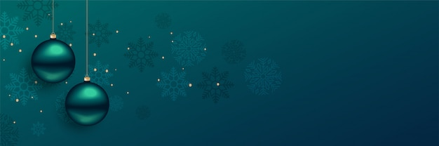 テキストスペースと美しいクリスマスボールのバナー