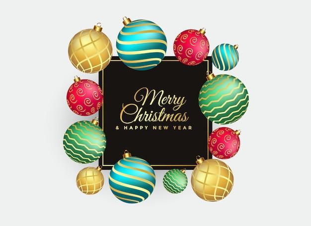 エレガントなメリークリスマスの背景とボールの装飾