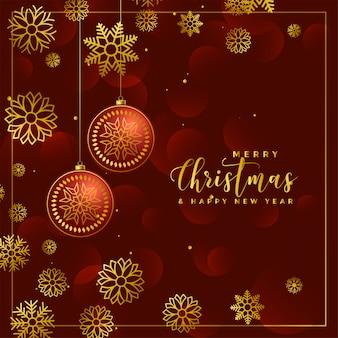 豪華なクリスマスのボールと雪片の装飾の背景
