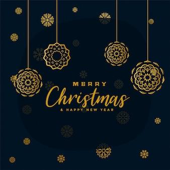 Стильные черно-золотые рождественские снежинки
