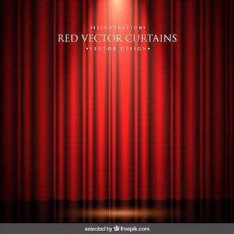Фон красные шторы