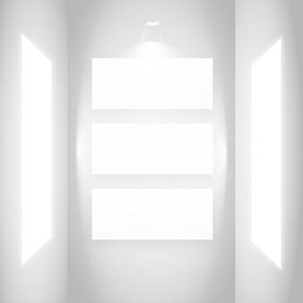 白い壁にディスプレイの額縁