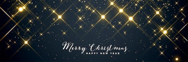 光沢のある輝くメリークリスマスバナーデザイン