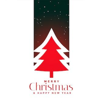 赤いクリスマスツリーの背景デザイン