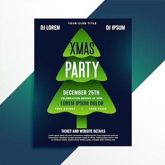 創造的な緑のクリスマスツリーパーティーフライヤーデザイン