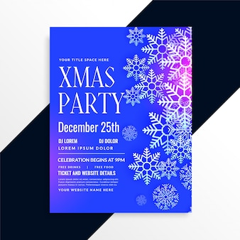 すばらしい青い雪片クリスマスパーティーフライヤーデザイン