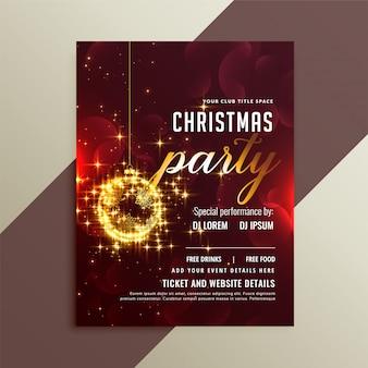 ラブリーゴールデンスパークル光沢のあるクリスマスパーティーのチラシのテンプレート