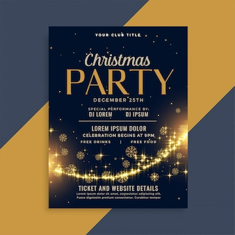シャイニークリスマスゴールデンスパークルパーティーフライヤーデザインテンプレート