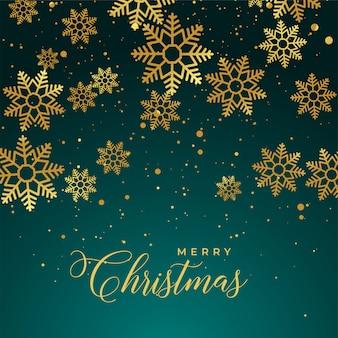 ゴールデンスノーフレークとメリークリスマスの背景