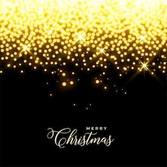 Светящиеся золотые звезды и искрится рождественский фон