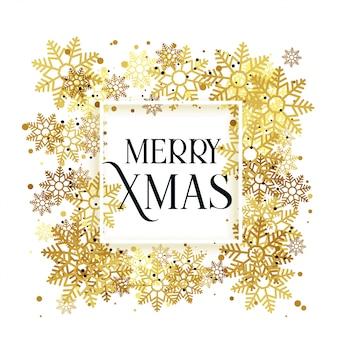 ゴールデンスノーフレーククリスマスの背景デザイン