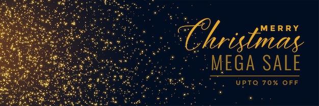Новогодняя распродажа золотой блеск баннер