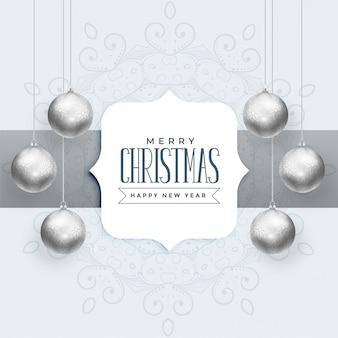 シルバーボールと美しいクリスマスの背景