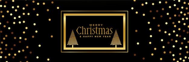 黒の背景に黄金のキラキラクリスマスバナー