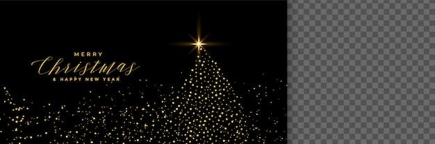 輝きと黒いバナーで作られたクリスマスツリー