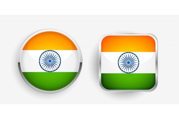 Два индийских флага этикетки дизайн иконок