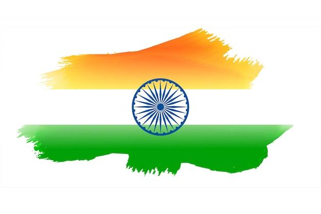 水彩画で作られたインドの国旗