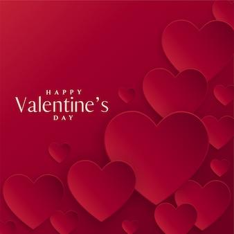 バレンタインデーのための赤いハートの背景