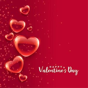 赤い泡ハートフローティングバレンタインデーの背景