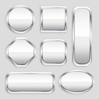 さまざまな形の光沢のある金属ボタンのセット