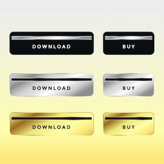プレミアムダウンロードと購入の金属製のボタンのセット