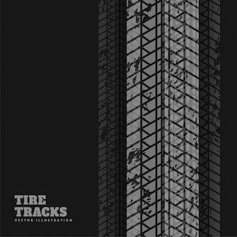 タイヤ印刷マークと抽象的な黒い背景