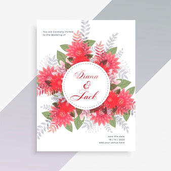 花の装飾と結婚式の招待カードのデザイン