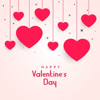 バレンタインデーのための星と心をぶら下げ