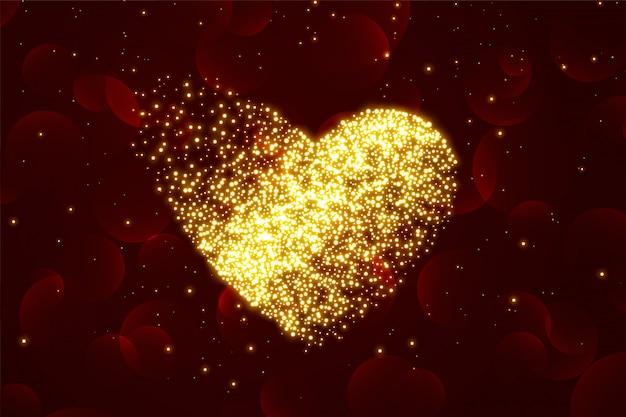 バレンタインデーのための光沢のある粒子の心の背景