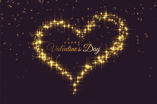 輝くバレンタインデーの背景で作られた創造的な心
