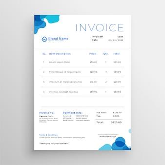 きれいなブルーの抽象的なビジネス請求書テンプレート