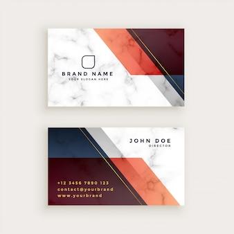 Стильный мраморный дизайн визитной карточки с геометрическими фигурами