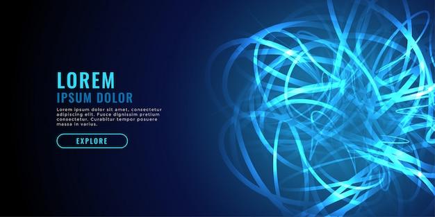 抽象的な青いカオスライン図技術の背景