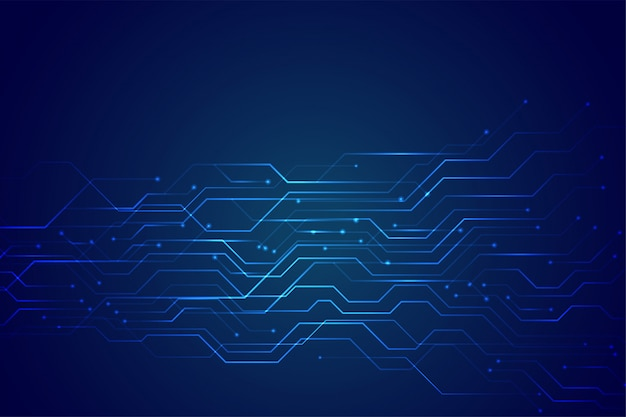 Синяя технологическая схема со светящимися огнями