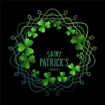 День святого патрика зеленый трилистник оставляет фон рамки
