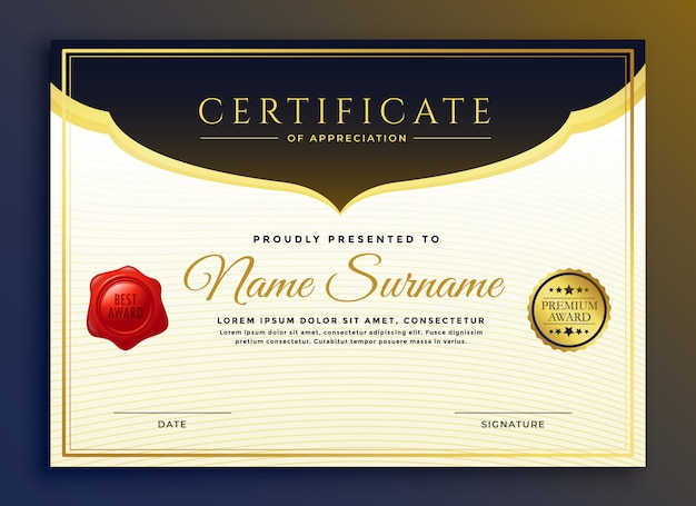 プロの卒業証書証明書テンプレートデザイン