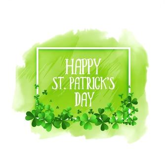 Счастливый день святого патрика зеленый фон акварелью