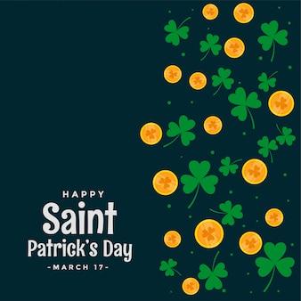 聖パトリックの日の葉とコインの背景