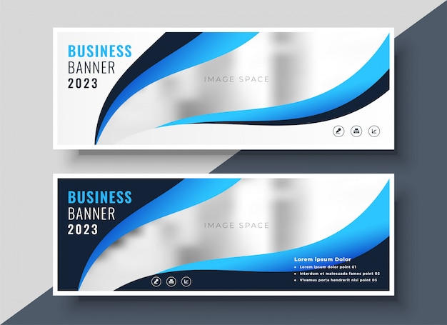Стильный синий презентация бизнес баннер шаблон