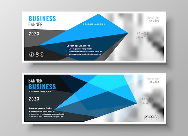 モダンなブルーの幾何学的ビジネスプレゼンテーションのバナーデザイン