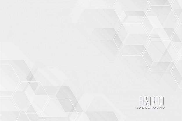 抽象的な六角形の白い背景デザイン