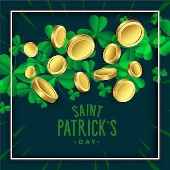 聖パトリックの日のための黄金のコインとクローバーの葉