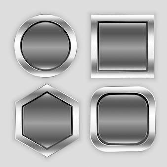 さまざまな形の光沢のあるボタンアイコン