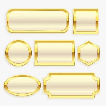 光沢のあるゴールデンビンテージフレームまたはラベルコレクション
